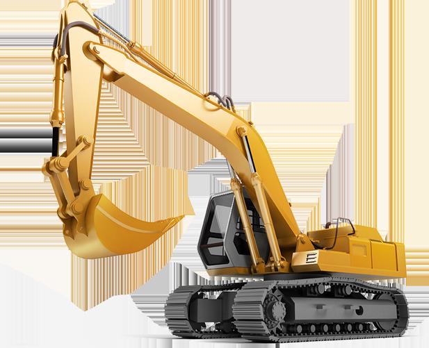 big yellow construction excavator rendering